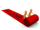 thumbnail Two Orange People Unrolling A Large And Luxurious Red Carpet For Someone Expecting The Vip Treatment Clipart Illustration Graphic